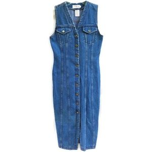 Vintage 80s 90s Denim Dress Fitted Maxi Button Up